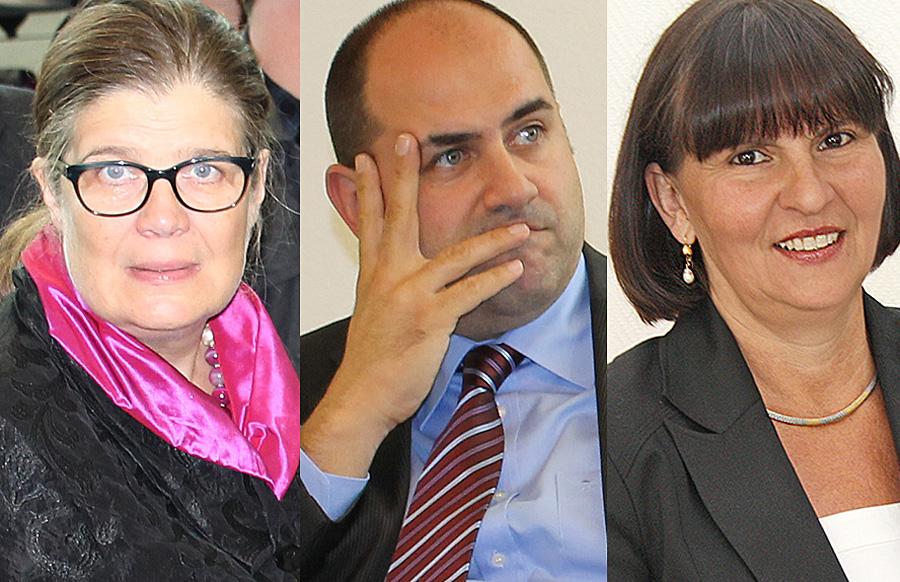 Allein zwischen Frauen: Thomas Egger ist zurück aus dem Urlaub. Angelika Birk (links) von den Grünen und die Christdemokratin Simone Kaes-Torchiani werden wohl gehen - früher oder später.