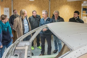 Wieviel Auto braucht der Mensch? Professor Hartmut Zoppke (3. von rechts) im Gespräch mit Thorsten Kretzer, Anton Hofreiter und Corinna Rüffers.