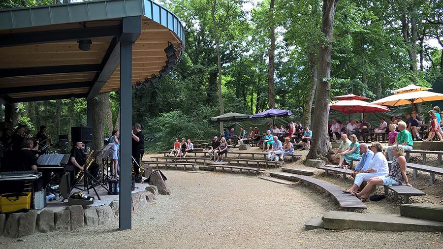 Schattige Plätze unter hohen Bäumen versprechen ungetrübten Musikgenuss auf der Waldbühne. Foto: Freilichtmuseum