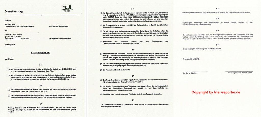 Der neue, geheime Vertragsentwurf der Stadt für Intendant Karl Sibelius. Screenshot und Copyright: trier-reporter