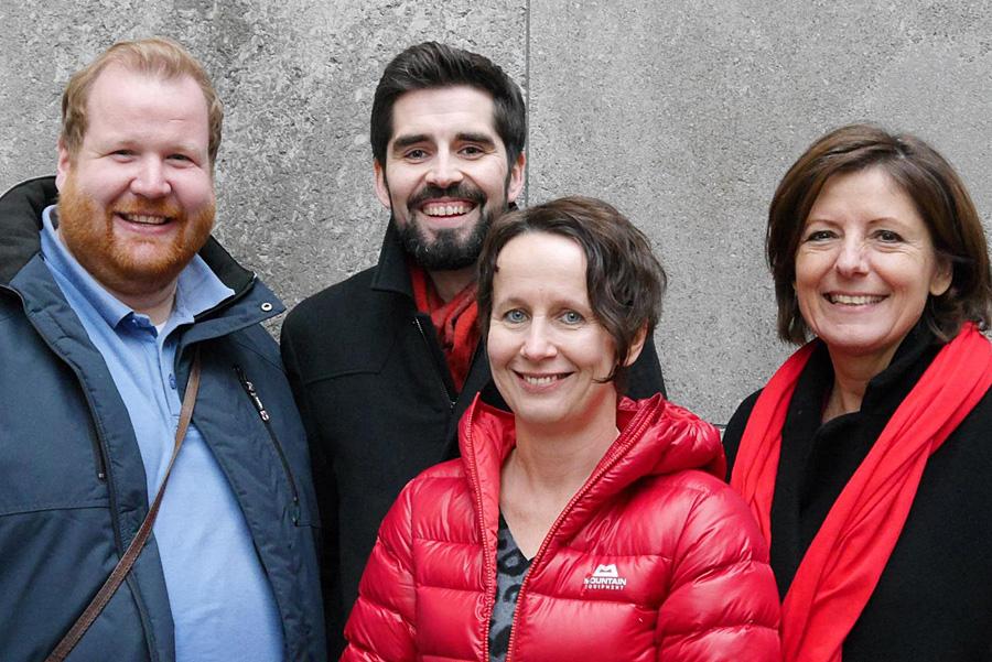 Monika Berger, hier mit Markus Nöhl, Sven Teuber und MInisterpräsidentin Malu Dreyer, zieht zusammen mit Katarina Barley für die SPD in den Bundestagswahlkampf.