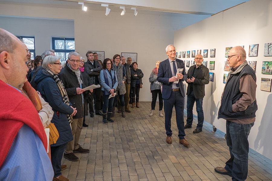 Freuen sich über das große Interesse an der Ausstellung: Rainer Breuer von édition trèves, Josef Hammen und Oberbürgermeister  Wolfram Leibe. Fotos: Rolf Lorig