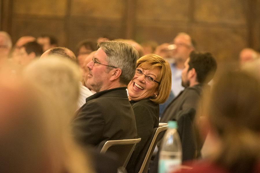 Wirklich zum Lachen? Vor allem die CDU, hier Fraktionschef Udo Köhler und Stellvertreterin Birgit Falk, wechselte in den vergangenen Tagen gleich mehrmals ihre Positionen. Foto: Rolf Lorig