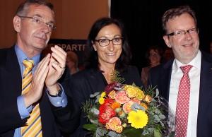 Ulrich Dempfle (links) und Bernhard Kaster, hier mit OB-Kandidatin Hiltrud Zock, sondieren für die CDU nach der Stadtratswahl in Trier.