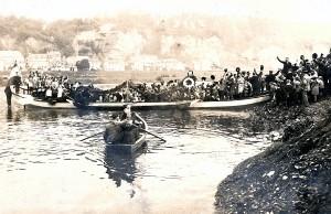 Die letzte Fahrt der Fähre Pallien, Fotografie von 1913. Foto: Karl-Heinz Zimmer