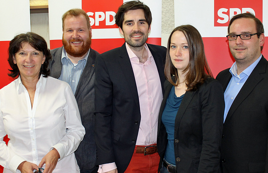Der alte und auch neue geschäftsführende Vorstand der Trierer SPD: Begoña Hermann, Markus Nöhl, Sven Teuber, Anna Gros und Andreas Schleimer (v.l.) Es fehlt Christine Forsch (Schatzmeisterin).