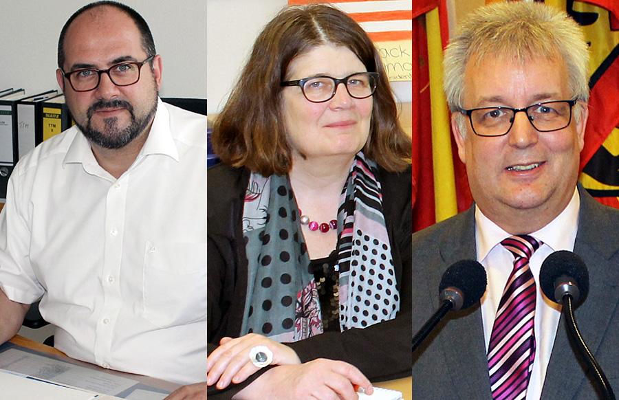 Egger (links) gibt die Wirtschaftsförderung an Leibe ab, bekommt dafür das Rechtsamt und den Stadtrechtsausschuss. Birk verzichtet auf das Schul- und Sportamt, das zu Ludwig (rechts) wechselt.
