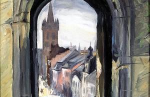 Max Lazarus, Blick durch ein Fenster der Porta Nigra auf St. Gangolf, 1926. Foto: Stadtmuseum Simeonstift
