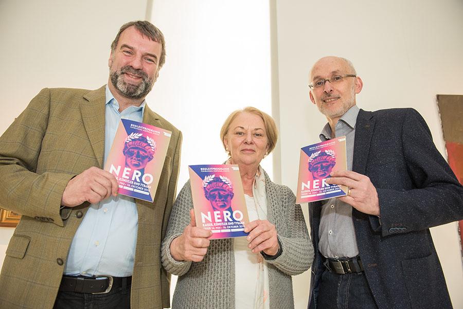 Sie freuen sich auf das Nero-Jahr: Die drei Direktoren Marcus Reuter, Elisabeth Dühr und Markus Groß-Morgen. Alle Fotos: Rolf Lorig