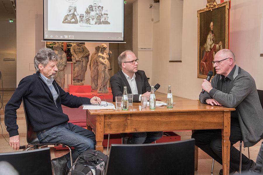 Unter der Leitung von Marcus Stölb diskutieren Dieter Sadowski (links) und Horst Erasmy (rechts). Fotos: Rolf Lorig