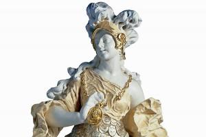 """Ferdinand Tietz, """"Minerva"""" aus dem Skulpturenzyklus für das Kurfürstliche Palais, Sandstein, um 1760. Foto: Stadtmuseum Simeonstift Trier"""