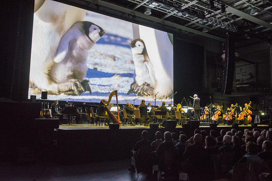 Faszinierende Naturaufnahmen gepaart mit dem Live-Erlebnis eines großen Orchesters. Foto: Rolf Lorig
