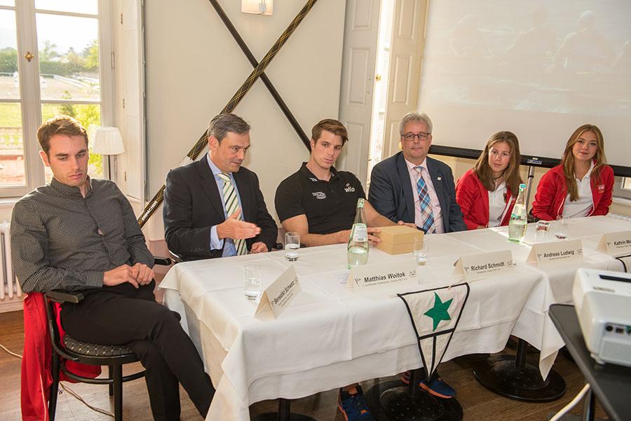 Mit einer Pressekonferenz ehrt der Ruderverein treviris seinen Olympia-Silbermedaillengewinner Richard Schmidt und die beiden Hoffnungsträgerinnen Cathrin Morbe und Caroline Meyer.