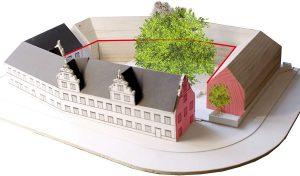 Der neue Baukörper wird sich in seinem Duktus an dem historischen Martinskloster orientieren. Foto: Studiwerk Trier